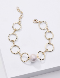 Fashion Golden Natural Freshwater Pearl Thick Chain Round Hollow Bracelet
