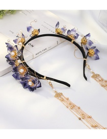 Fashion Purple Alloy Headband With Glazed Flowers And Pearl Tassels