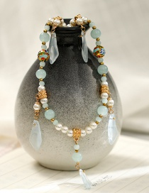 Fashion Blue Handmade Beaded Pearl Alloy Resin Necklace Earring Set