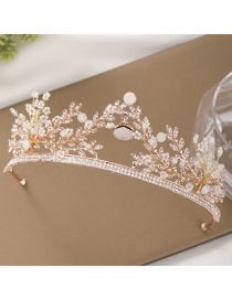 Fashion Rose Gold Hollow Vine Leaves Diamond Crown Resin Headband