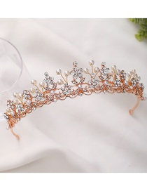 Fashion Rose Gold Diamond Pearl Crown Hollow Alloy Hair Band
