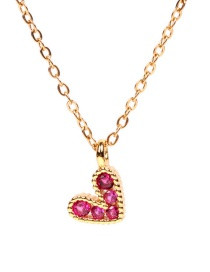 Fashion Red Love Stainless Steel Necklace With Zircon