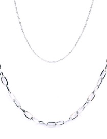 Fashion Silver Thick Chain Stainless Steel Hollow Double Necklace