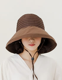 Fashion Coffee Color Sunshade Sun Protection Big Hat Bow Bow Fisherman Hat