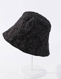Fashion Black Pleated Breathable Solid Color Bucket Hat