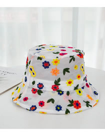 Fashion White Embroidered Flower Contrast Fisherman Hat