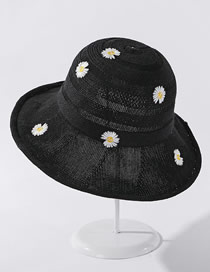 Fashion Black Little Daisy Embroidered Knitted Broad-band Fisherman Hat