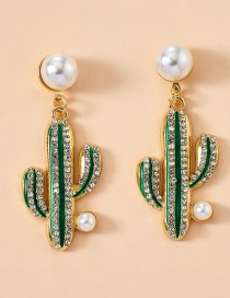 Fashion Green Alloy Diamond And Pearl Cactus Earrings