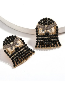 Fashion Black Alloy Diamond Pearl Owl Earrings