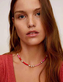 Fashion Red Resin Pearl Necklace