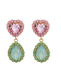 Fashion Pink + Green Love Drop Earrings With Alloy Diamonds