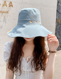Fashion Blue + Meter Daisy Fisherman Hat With Big Edge Embroidery On Both Sides