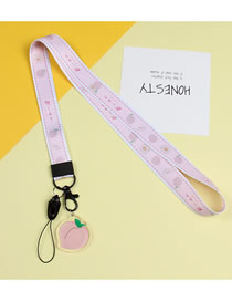 Fashion Peach Mobile Phone Lanyard With Printed Animal Broadband Braid