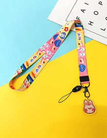 Fashion Rabbit Mobile Phone Lanyard With Printed Animal Broadband Braid