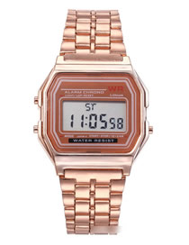 Fashion Golden Alloy Electronic Square Steel Band Watch