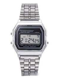 Fashion Silver Alloy Electronic Square Steel Band Watch