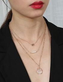 Fashion Golden Natural Pearl Heterogeneous Transparent Natural Stone Stacked Multi-layer Necklace