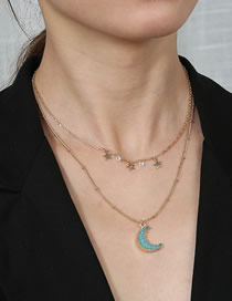 Fashion Blue Chain Moon Little Star Resin Double Necklace