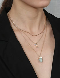Fashion Golden Letter Blue Imitation Natural Stone Pearl Three-layer Necklace