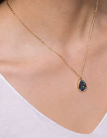 Fashion Golden Natural Abalone Shell Drop-shaped Pendant Alloy Necklace