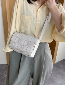 Fashion Creamy-white Woven Solid Color Clamshell Shoulder Crossbody Bag