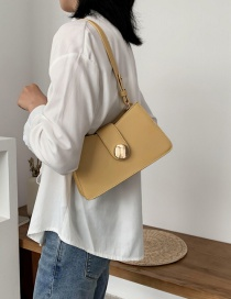 Fashion Yellow Pure Color Shoulder Crossbody Bag With Metal Lock