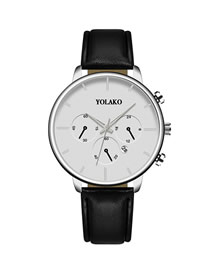 Fashion Black Belt White Noodles Calendar Slim Stainless Steel Men's Leather Watch