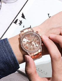 Fashion Rose Gold Diamond Single Quartz Steel Band Men's Watch