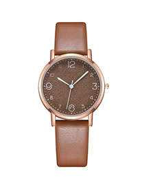 Fashion Brown Ultra-thin Digital Face Strap Ladies Watch