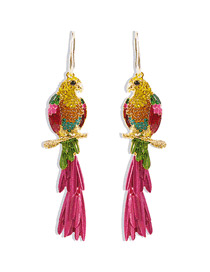 Fashion Color Parrot Studded With Diamond Drop Alloy Earrings