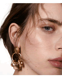 Fashion Golden Geometric Round Concave And Convex Hollow Earrings