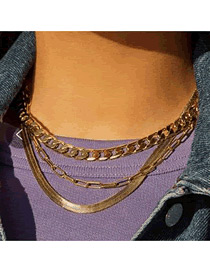 Fashion Golden Snake Bone With Thick Chain Alloy Multi-layer Necklace