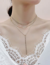Fashion Golden Pearl Necklace Stacked Tassel Multilayer Necklace