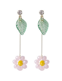 Fashion Pink Crystal Beaded Flowers And Leaves Contrast Color Resin Alloy Earrings