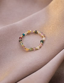 Fashion Crystal Beaded Pearl Crystal Stacked Elastic Ring