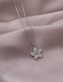 Fashion Silver Necklace Inlaid With Diamond Alloy Flowers