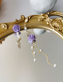 Fashion Purple (earring Type) Pearl Rose Butterfly Butterfly Asymmetric Earring Necklace