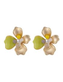 Fashion Yellow Crystal Petal Matte Gold Drop Pearl Earrings