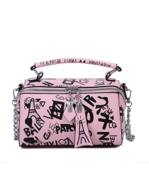 Fashion Pink Chain Printed Shoulder Bag