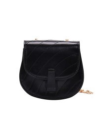Fashion Black Trumpet Embroidered Thread Chain Quilted Shoulder Crossbody Bag