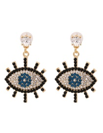 Fashion Black Micro-diamond Eye Alloy Earrings