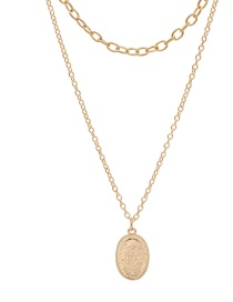 Fashion Golden Geometric Coin Relief Multi-layer Necklace