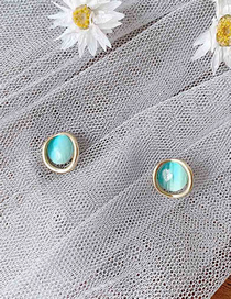 Fashion Blue Round Opal Alloy Hollow Earrings