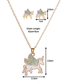 Fashion Unicorn Dropped Oil Color Geometric Alloy Earring Necklace Set
