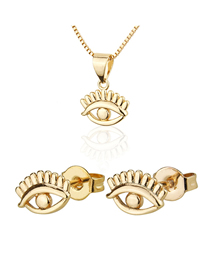 Fashion Golden Eye Gold-plated Earring Necklace Set