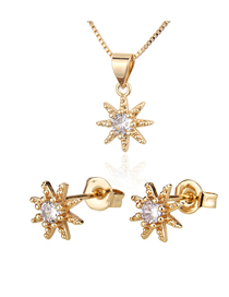 Fashion Golden Eight Star Mandala Gold Plated Diamond Earring Necklace Set