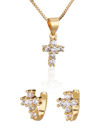 Fashion Golden Cross Gold-plated Diamond Earring Necklace Set