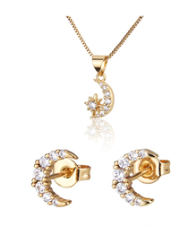Fashion Golden Xingyue Gold Plated Diamond Earring Necklace Set