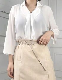 Fashion White Chiffon Messy V-neck Long-sleeved Sun Shirt