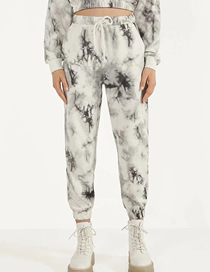 Fashion Black And White Tie-dye Tie-dye Printed Bouquet Elasticated Waist Trousers